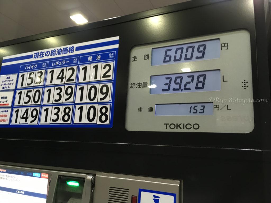 gasoline 86 燃費 ガソリン